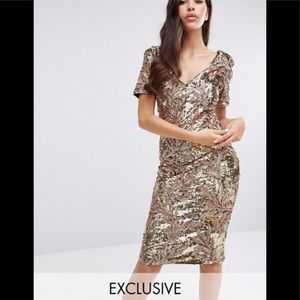 Asos club L sequin midi dress with cap sleeves